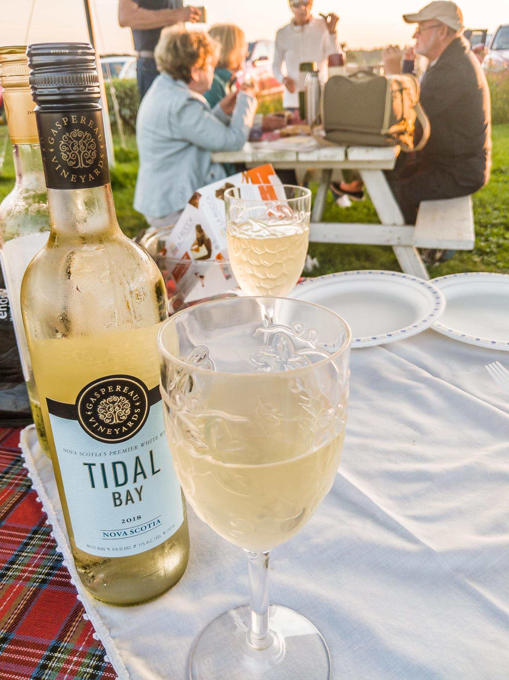 Bottle of Gaspereau Vineyards Tidal Bay wine on a picnic table in Nova Scotia