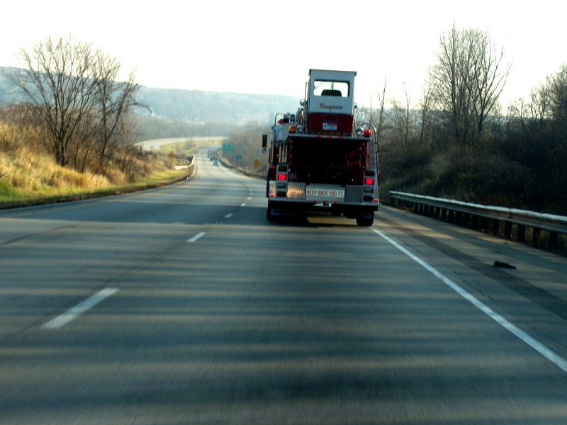 In Eastern Ohio, some rolling hills.  Saw this new Firetruck, to be delivered to a new town tomorrow ?