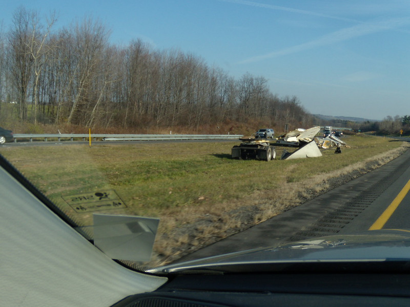 Another truck driver lost control and splattered the equipment all over.  Was he texting while driving or taking photos ?!