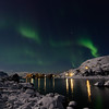 Northern lights and moonlight over Nyksund in january
