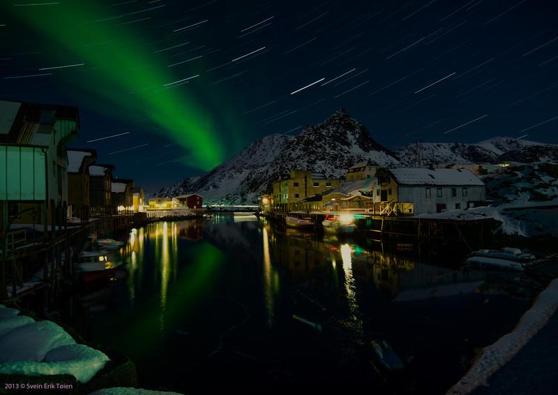 Startrails and aurora<br /> Nyksund in March