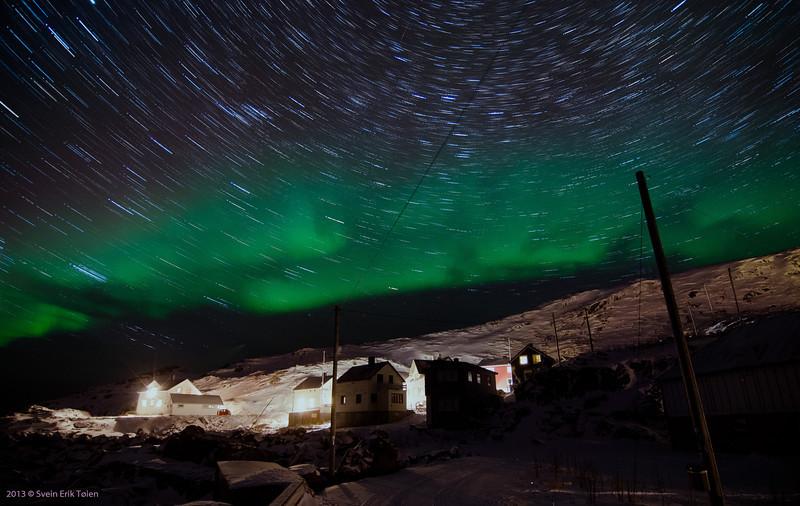 Statr trails and aurora in March<br /> Vestervika, Nyksund