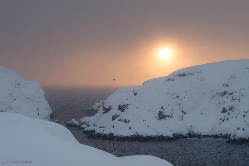 Snowy sunset<br /> View from Vestervika, Nyksund