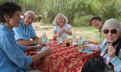 Lunch at the village chief's home.  Beth, Joe, Jane, Judy and Grace.