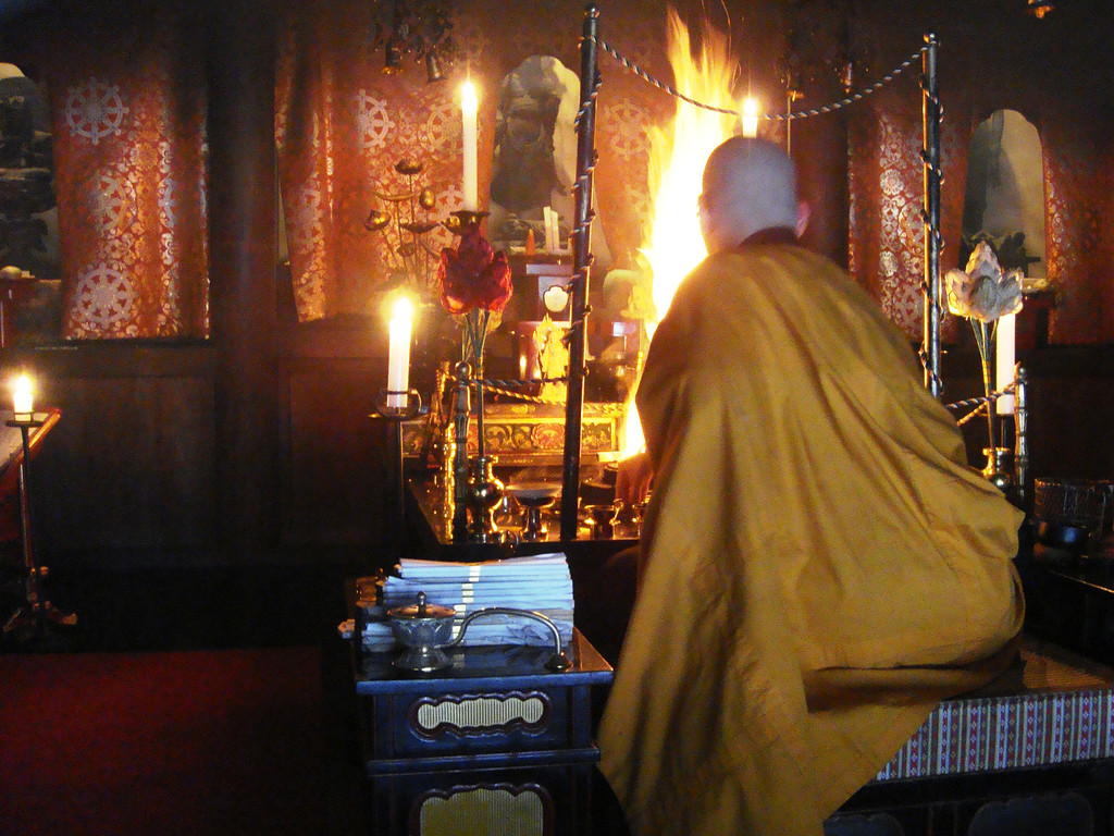 Monk and fire ceremony at Ekoin Mount Koya.