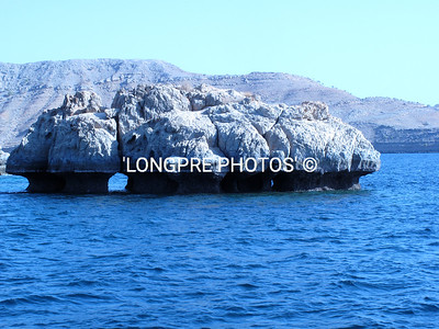 Rock in the Fjords of Khasab, Oman.