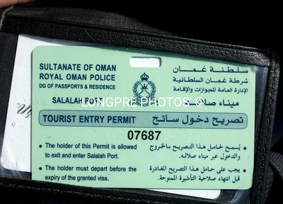 OMAN....Tourist Entry Permit.