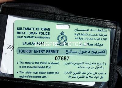OMAN....Tourist Entry Permit.