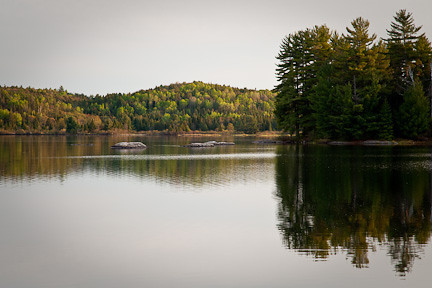 """LATE AFTERNOON AND """"MIRROR"""" WATER ON LAKE OF TWO RIVERS"""