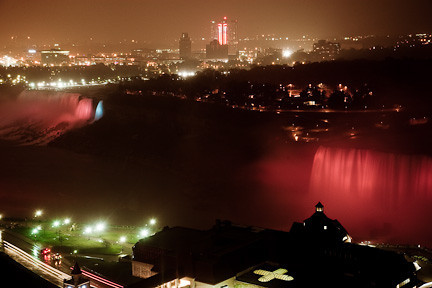 LIGHTED VIEW OF THE FALLS ON A RAINY NIGHT