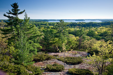 "VIEW OF LAKE MUSKOKA FROM ""HUCKLEBERRY ROCKS"" LOOKOUT"