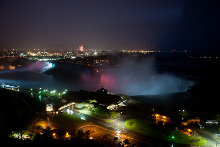 THE FALLS LIGHTED AT NIGHT AS VIEWED FROM OUR HOTEL