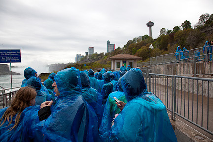 "STANDING IN LINE FOR THE ""MAID IN THE MIST"" BOAT RIDE"
