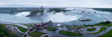 PANORAMA CAPTURED THROUGH THE WINDOW OF OUR ROOM IN THE MARRIOTT/FALLSVIEW HOTEL. AMERICAN FALLS IS TO THE LEFT, AND HORSESHOE FALLS IS TO THE RIGHT.