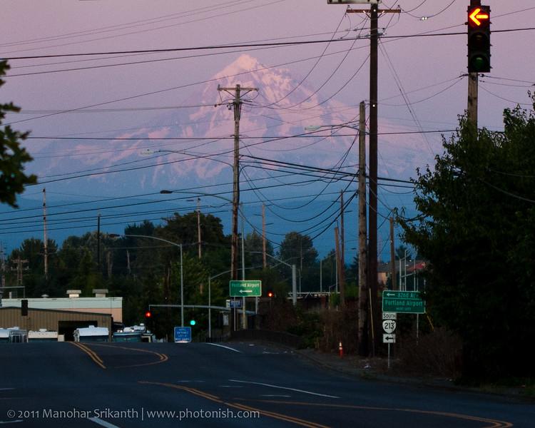 Portland Oregon. Somewhere near the PDX. Mt. Hood.