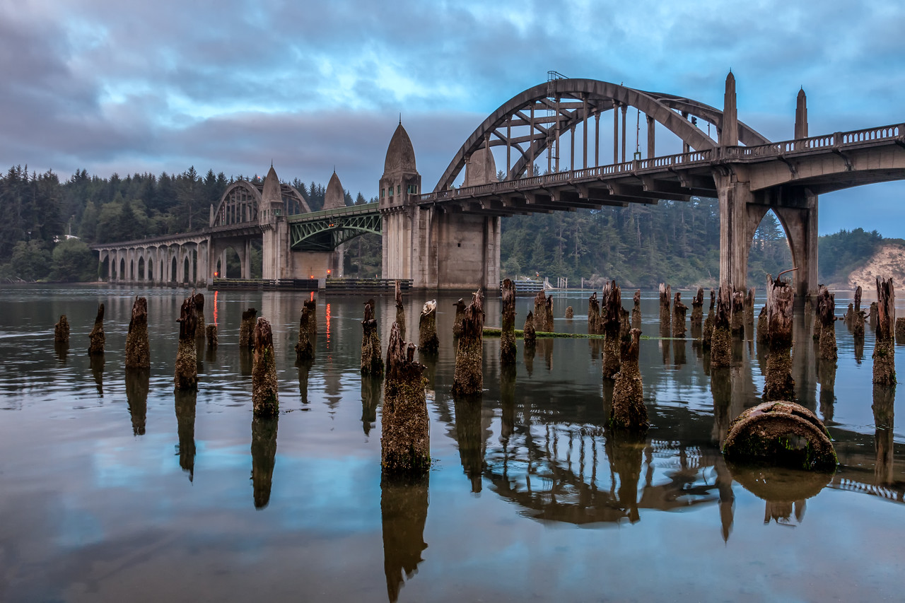 SUNRISE AT THE BRIDGE IN FLORENCE, OREGON