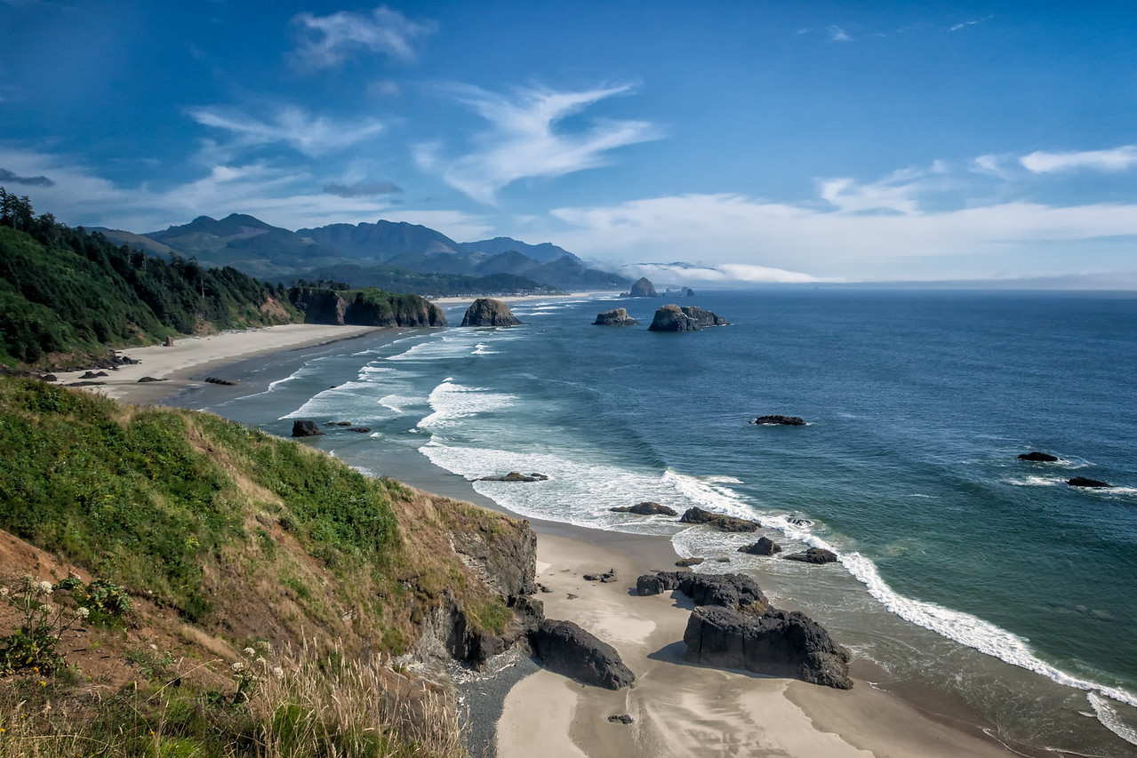 THE VIEW OF CANNON BEACH FROM ECOLA STATE PARK