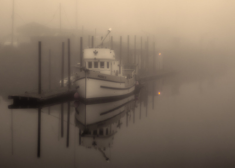 FOGGY MORNING AT NEWPORT HARBOR