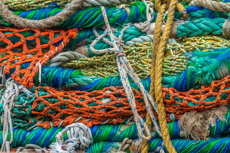 ROPES AND NETS ON A FISHING BOAT