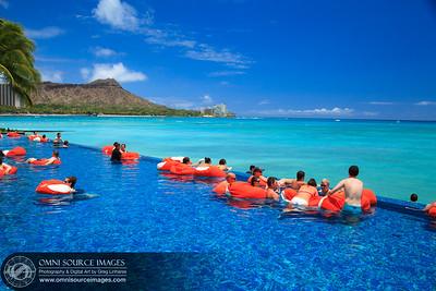 Poolside at the Sheraton Waikiki.