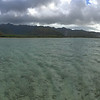From the bay, wading for bonefish, looking back at Hawaii Kai, Koko crater, and Koko Head