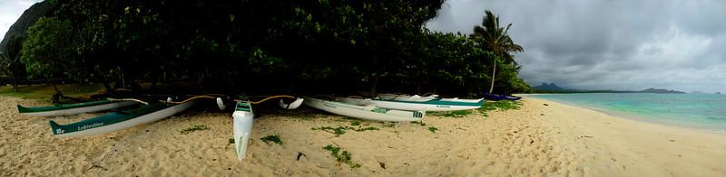 Panorama Waimanalo Canoe Club, Waimanalo, Oahu, Hawaii
