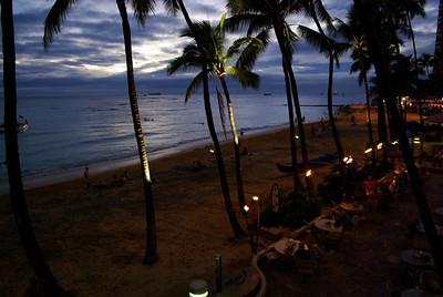 Waikiki Beach at night.