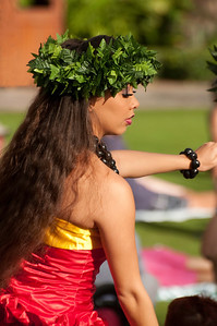 Hawaiian profile of beautiful girl dancer.