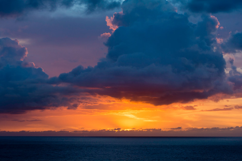The first of many beautiful sunsets from our condo in Waianae