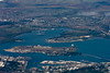 A look at historic Pearl Harbor as we approach Honolulu airport