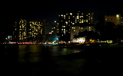 Waikiki Beach at night.
