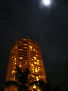 cloudy moon shot from Waikiki Beach
