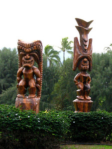 Hale o Keawe (wooden carvings) either along the entrance to the Bringham Young University campus or the Polynesian Cultural Center (can't remember) they are right next to each other.