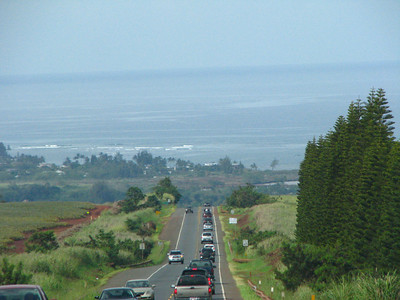 driving north on Kamehameha Hwy looking toward Waialua & Hale'iwa area.  Our first glimpse of the North Shore.