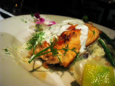 Layne's salmon with dill sauce...yummmy! I made him give me a bite!