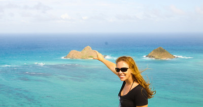 Hiking up to the pillboxes in Kailua.