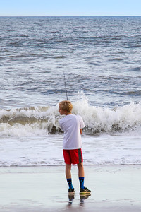 Boy Fishing at Yaupon Beach (29 May 2016)
