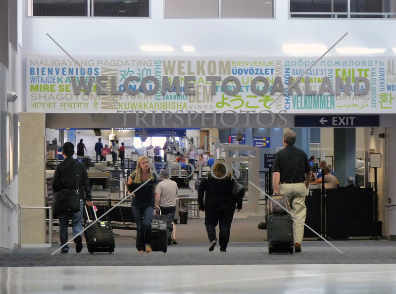 Airport terminal Welcome sign at Oakland, California.