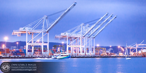Bay Ferry and Port of Oakland Cranes - Evening Twilight