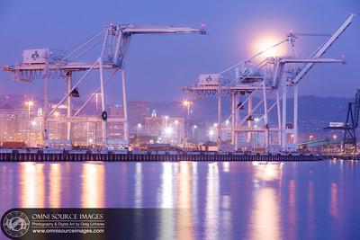 Full Moon Port of Oakland Cranes
