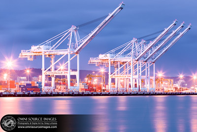 Port of Oakland Cranes Evening Twilight.