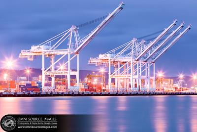Port of Oakland Cranes Evening Twilight.