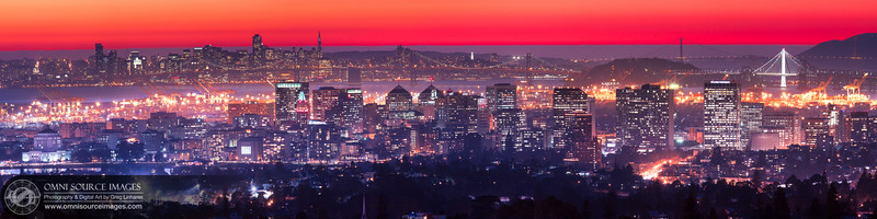Red Oakland Twilight - Super-HD Panorama. (15,526 x 5277 pixels/300dpi). Seven overlapping vertical images digitally stitched into one seamless, super-HD panorama.