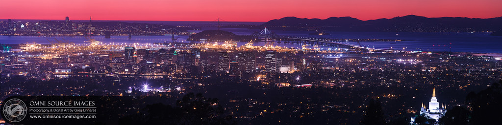 """Oakland – San Francisco Bay Area Twilight (Super-HD Panorama 1:4). Extremely dense smoke particles from a massive grass fire that occurred about 50 miles north-east earlier in the day, are what made this beautiful red twilight possible.  10 vertical images (each 21 megapixels) were photographed with a 400mm lens from high above the city in the Oakland Hills, then digitally stitched to create this """"Super-HD Panorama"""" of the entire Oakland / San Francisco Bay Area. The original image (from which all prints are generated) weighs in at 22,304 x 5576 pixels/300dpi, making it possible to be printed up to eight feet in length without any loss of detail."""