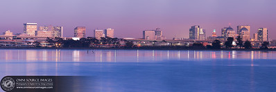 Oakland Twilight Skyline Super-HD Panorama. (16,707 x 5569 pixels/300dpi). Digitally stitched and blended from 7 vertical exposures.