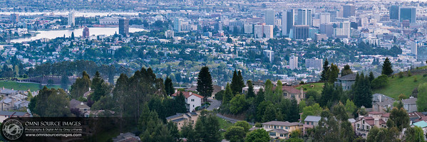 Downtown Oakland from Skyline Blvd. Super-HD Panorama (15,096 x 5032 pixels/300dpi).