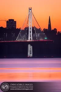 Oakland San Francisco Bay Bridge Sunset