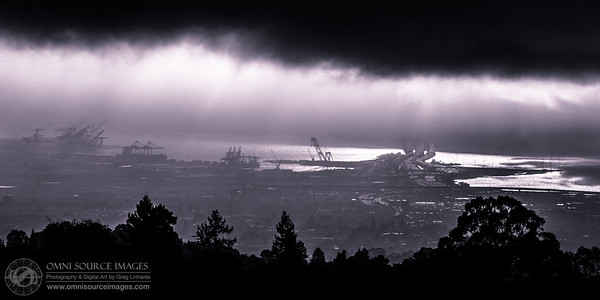 Port of Oakland and Bay Bridge from Skyline Blvd. Sunday, September 29, 2013 at 6:12 PM. 1/250 second at f/11, ISO 100, 400mm.