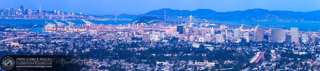 Oakland California Sunrise - Super-HD Panorama (17,919 x 3982 pixels/300dpi)