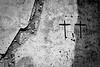 Two crosses, stucco wall. Oaxaca de Juarez, Mexico